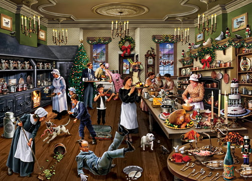 upstairs downstairs christmas inthe kitchen holdson 1000pc jigsaw puzzle
