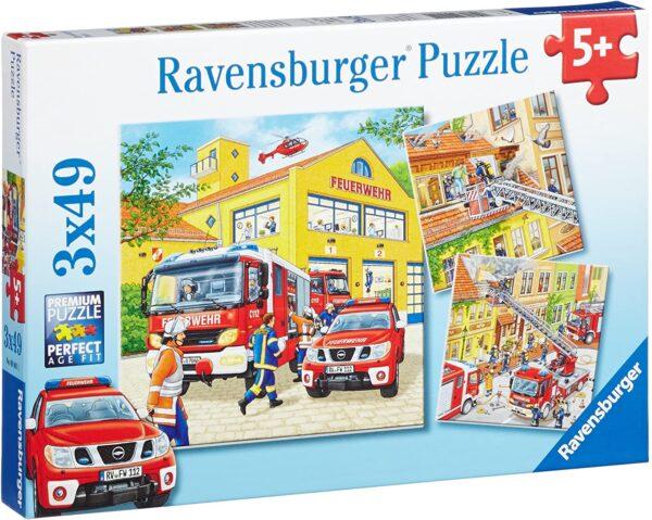 Fire Brigade Run 3 x 49 Piece Puzzle - Ravensburger