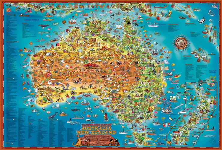 Map Of Australia Jigsaw Puzzle.Blue Opal Giant Map Down Under 300 Pc Jigsaw Puzzle