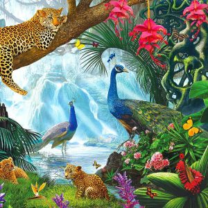 Peacocks & Leopards 1000pc Jigsaw Puzzle