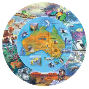 Blue Opal Wild Australia Round Map Puzzle