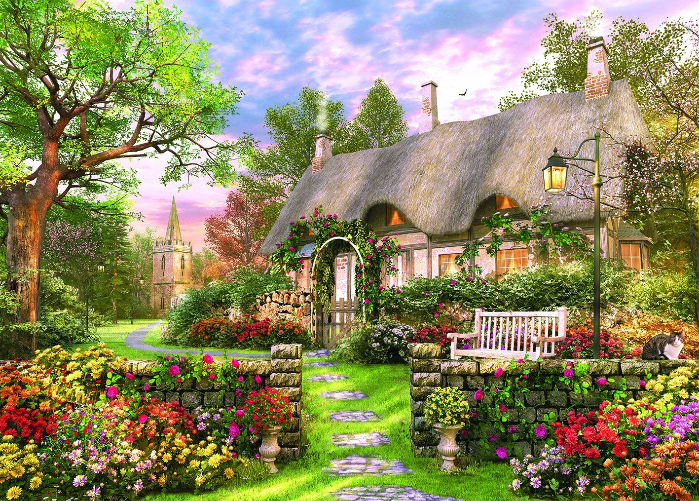 Picture perfect church lane cottage holdson jigsaw puzzle for The country home collection