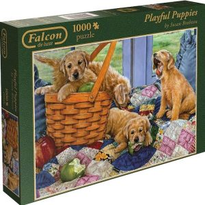 Playful Puppies 1000 PC Falcon de luxe jigsaw puzzle