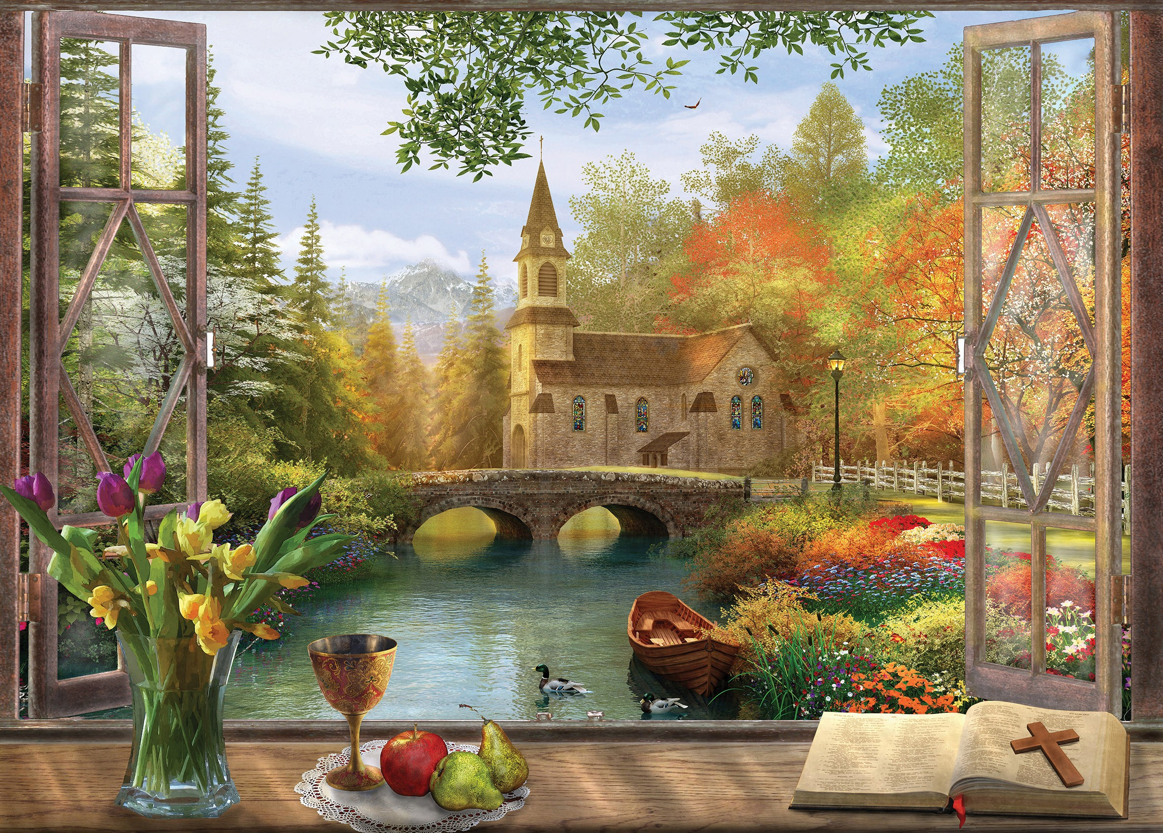 A Frame Cottage Viewpoints Church 1000pc Holdson Jigsaw Puzzle