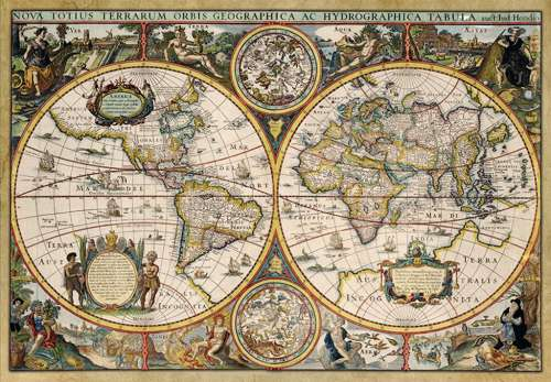 WORLD MAP CIRC 1630 | 1500 PC JUMBO JIGSAW PUZZLE