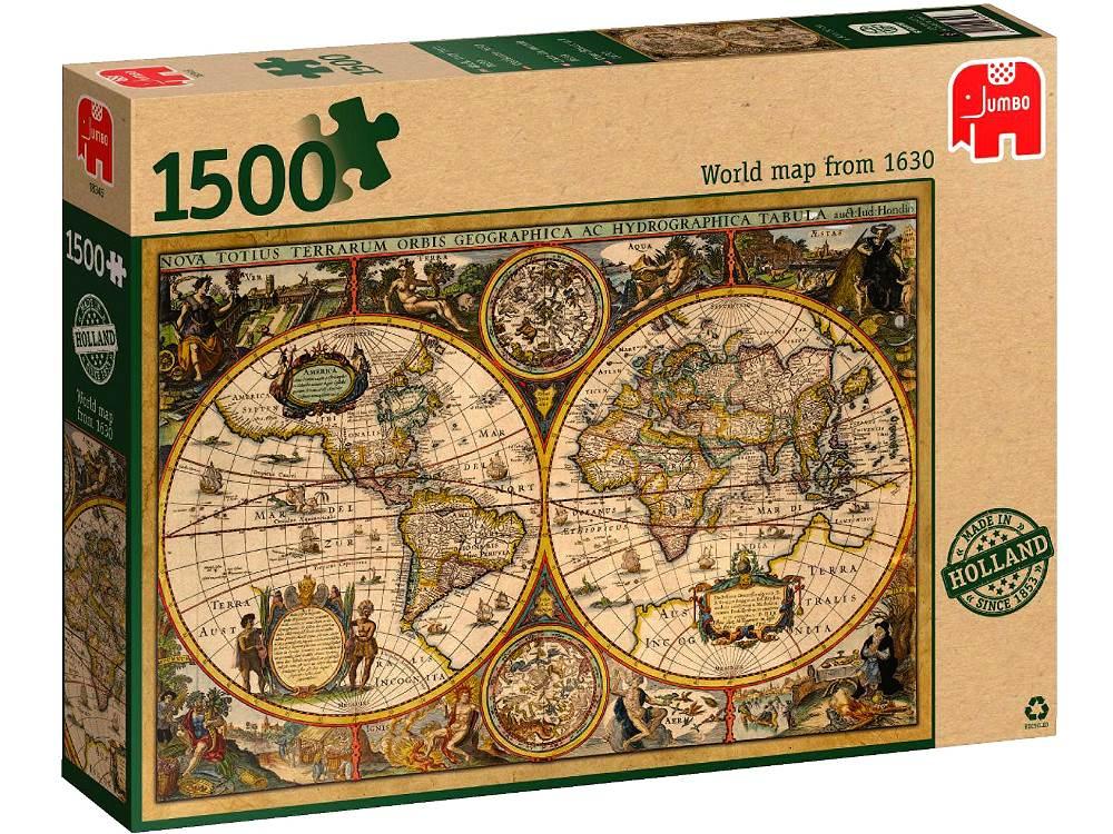 WORLD MAP CIRC 1630 | 1500 PC JUMBO JIGSAW PUZZLE