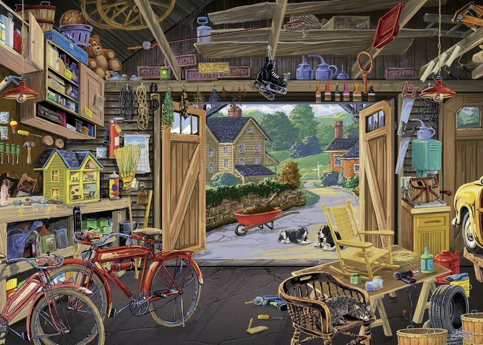 Grandpa S Garage Large Format 300 Piece Jigsaw Puzzle