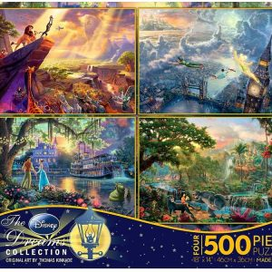 Thomas Kinkade Disney 4 x 500 PC Jigsaw Puzzle set