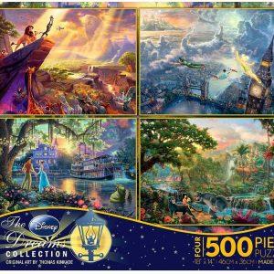 Thomas Kinkade Disney 4 x 500 PC Jigsaw Puzzle set