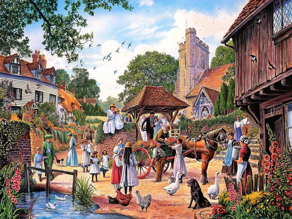 A Village Wedding By Steve Crisp 1000 Pc Jigsaw Puzzle