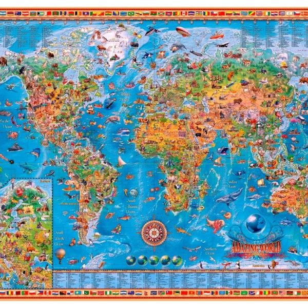 Jigsaw puzzle amazing world map 3000 pieces amazing world map 3000 pc jigsaw puzzle gumiabroncs Choice Image