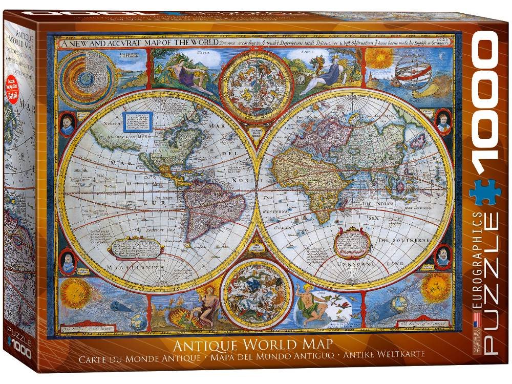 Antique world map 1000 piece jigsaw puzzle by eurographics antique world map 1000 pc jigsaw puzzle gumiabroncs Gallery