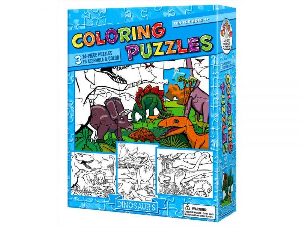 Colouring Puzzle Dinosaurs 3 x 24 PC