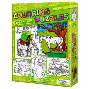 Colouring Puzzle Horses 3 x 24 PC