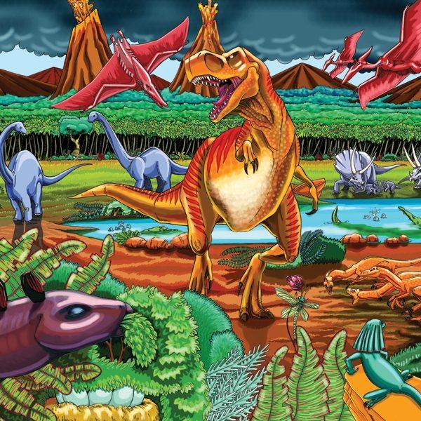 Dinosaur Volcano 36 PC Floor Jigsaw Puzzle