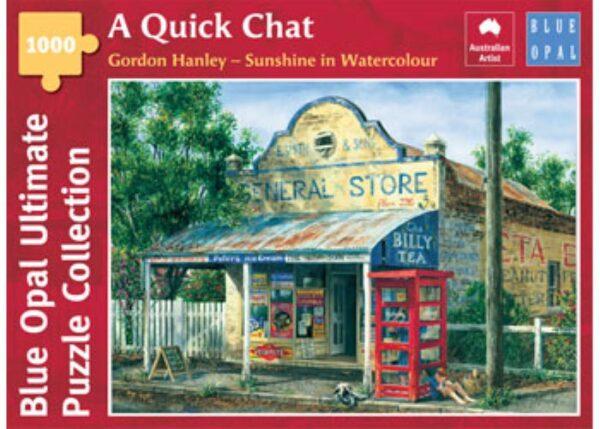 Gordon Hanley - A Quick Chat 1000 Piece Puzzle - Blue Opal