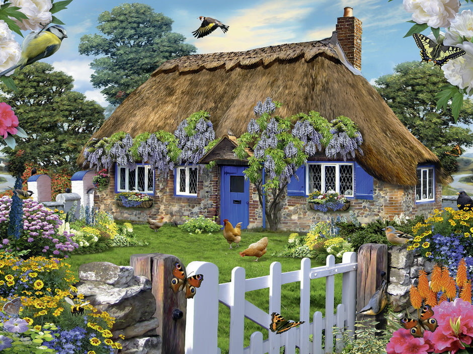 Jigsaw puzzle howard robinson cottage 1500 piece for Piani di casa cottage inglese