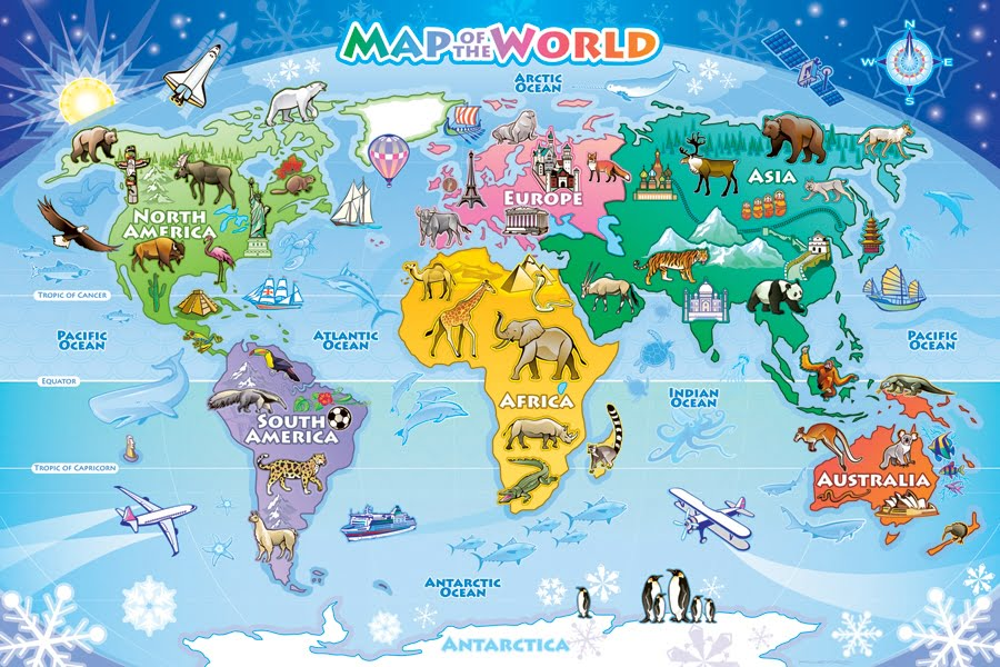 MAP OF THE WORLD 48 PC FLOOR JIGSAW PUZZLE - PUZZLE PALACE ...
