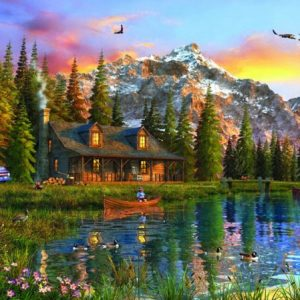 Old Log Cabin 2000 PC Jigsaw Puzzle