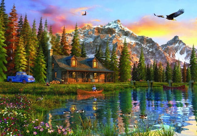 Jigsaw Puzzle Old Log Cabin 2000 Pc Puzzle Palace