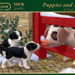 Puppies and Pig 500 PC Jigsaw Puzzle
