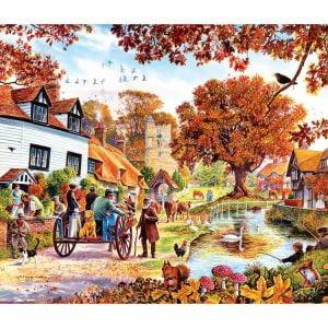 Village Autumn 1000 PC Jigsaw Puzzle