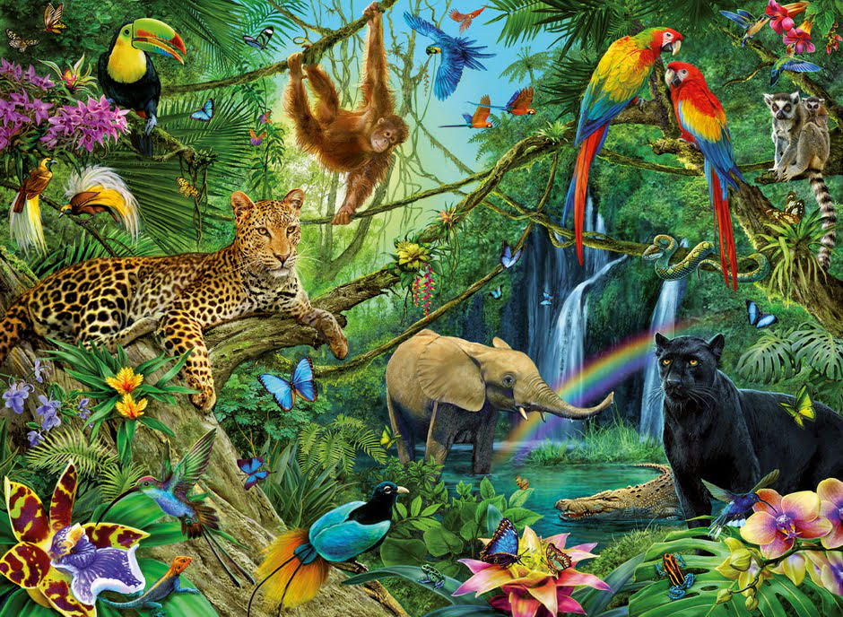 jigsaw puzzle animals in the jungle 200 pc by ravensburger