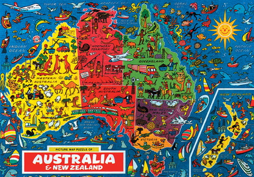 Map Of Australia Jigsaw Puzzle.Australia Map 500 Pc Jigsaw Puzzle