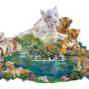Tigers at the Pool 1000 PC Shaped Jigsaw puzzle