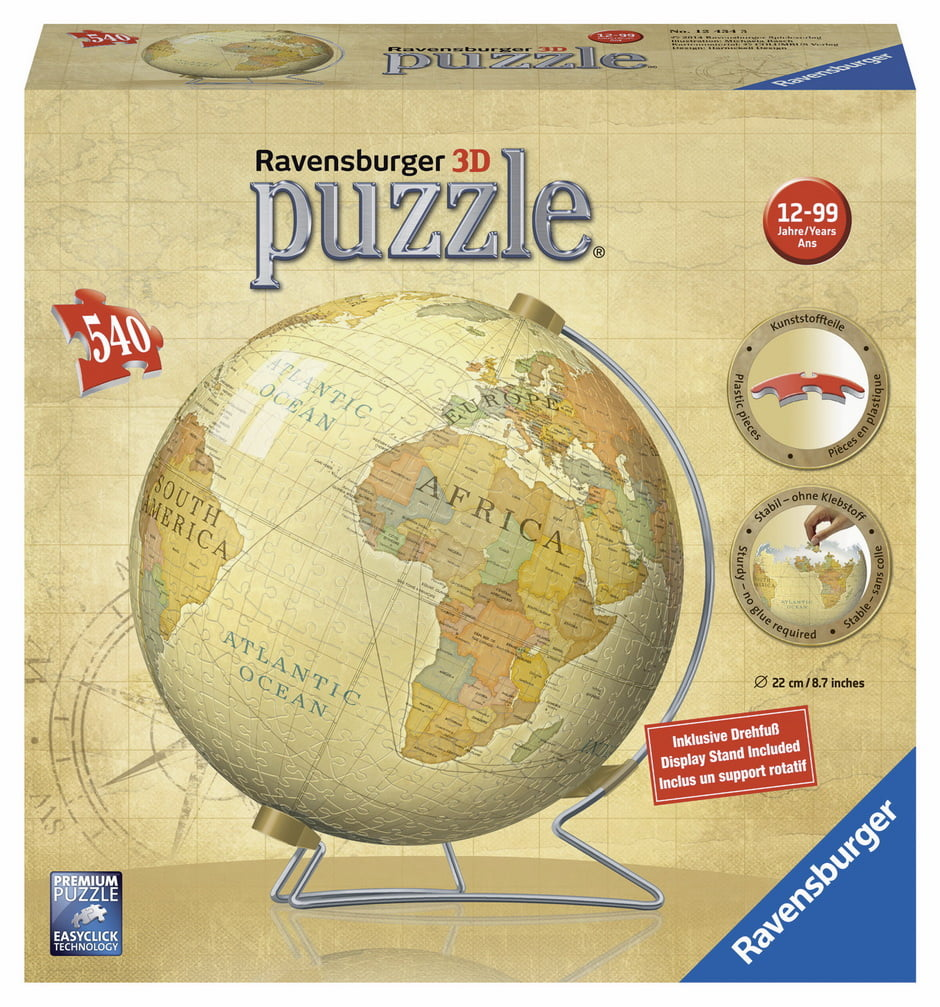 3d vintage globe 540 piece puzzleball from ravensburger 3d vintage globe puzzle ball 540 pc gumiabroncs Image collections