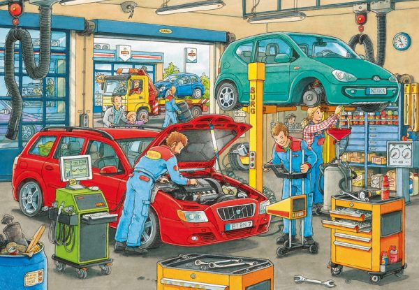 At the Service station 2 x 24 PC Jigsaw Puzzle
