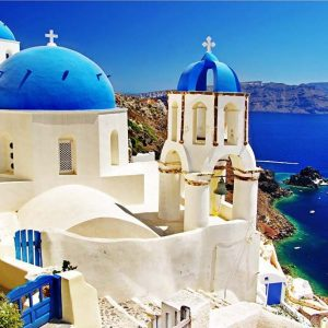 white- Blue santorini-greece-1000-pc-jigsaw-puzzle-