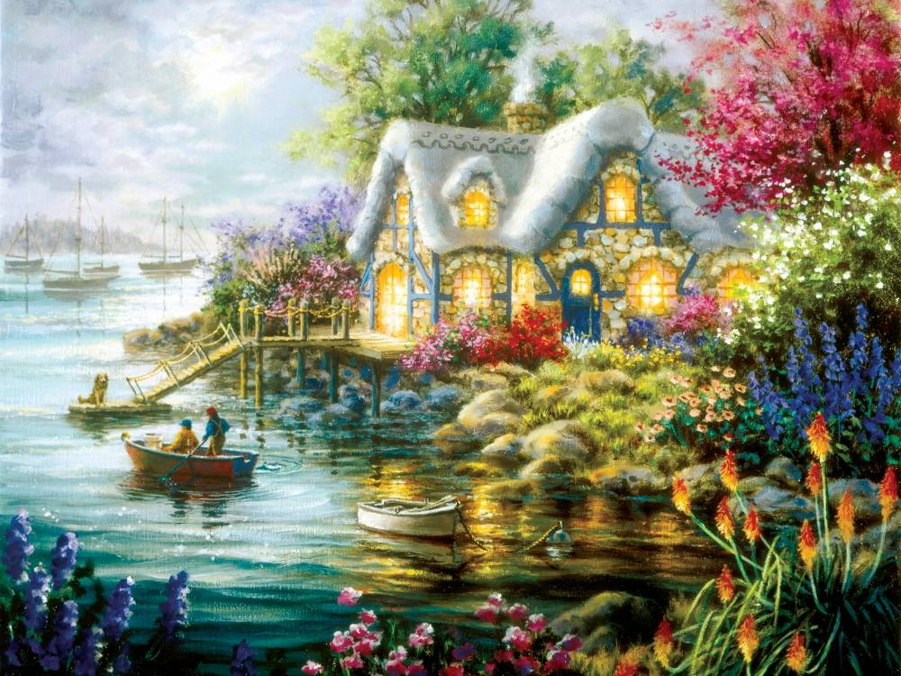 Sunsout Cottage Cove 300 Pc Jigsaw Puzzle