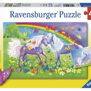 Rainbow Horses 2 x 24 PC Jigsaw Puzzle
