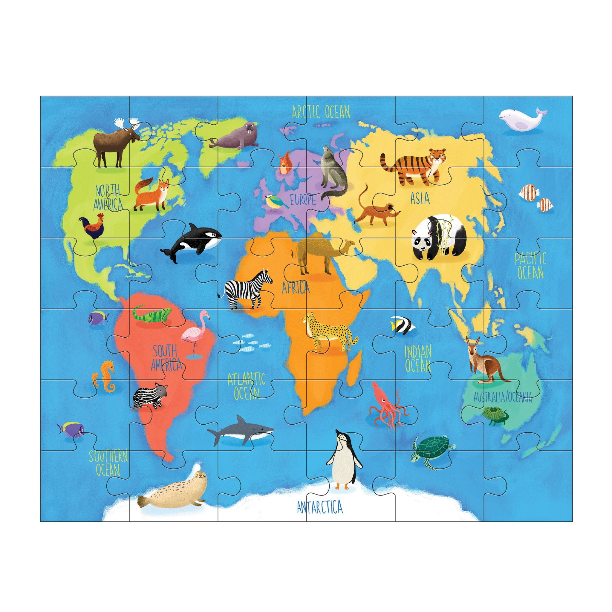 Play Mats For Cars And Trains >> MUDPUPPY Animals of the World 36 PIECE PUZZLE PLAY SET