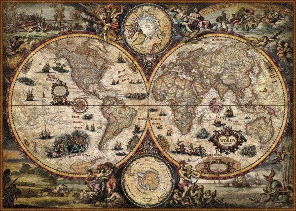 Map Art - Vintage World 2000 Piece Jigsaw Puzzle - Heye