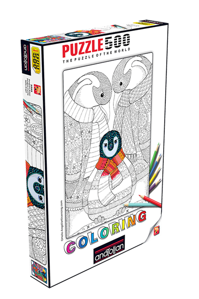 Penguin Family 500 PC Colouring Puzzle