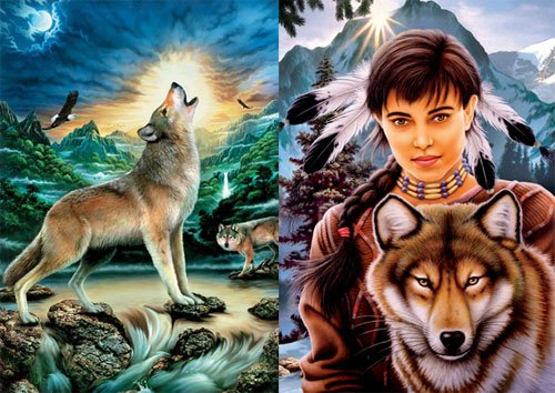 Howling Wolf & Spirit of Wolf 2 x 500 PC Jigsaw Puzzle