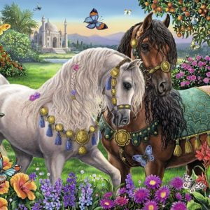 Adorned Stallions Brilliant 500 PC Jigsaw Puzzle