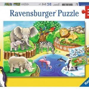 Animals In the Zoo 2 x 12 PC Ravensburger Jigsaw Puzzle