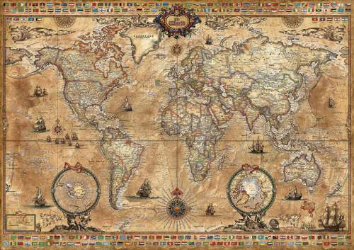 Map Of Australia Jigsaw Puzzle.Antique World Map 1000 Pc Educa Jigsaw Puzzle