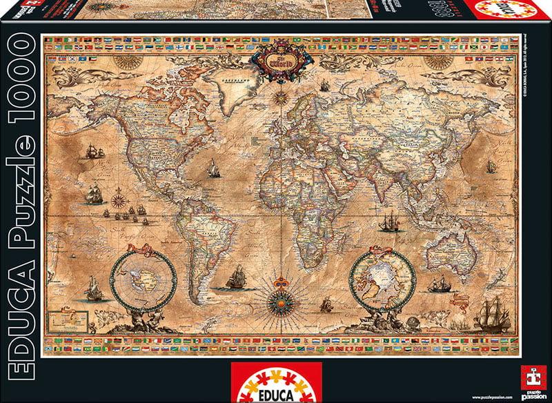Educa jigsaw puzzle at puzzle palace australia antique world map 1000 pc educa jigsaw puzzle gumiabroncs Images