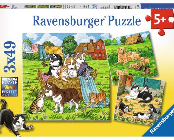 Cats & Dogs 3 x 49 PC Jigsaw Puzzle