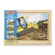 Construction Vehicles 4 x 12 PC Wooden Jigsaw Puzzle