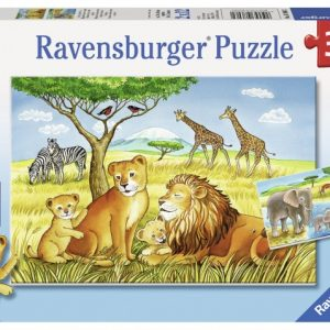 Elephants, Lions & Company 2 x 12 PC Jigsaw Puzzle