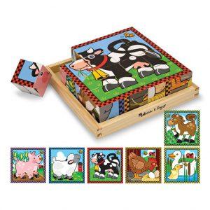 Farm 16 PC Wooden Cube Puzzle