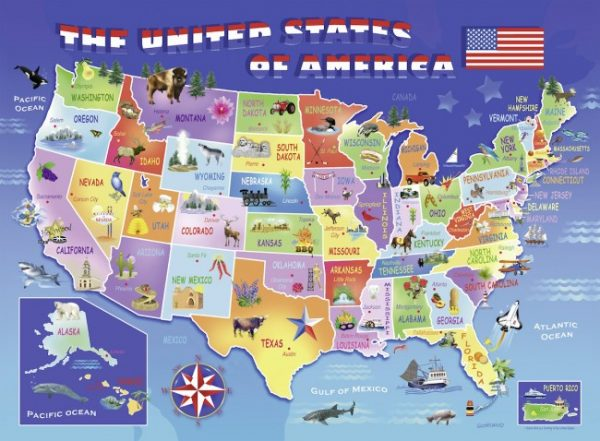 USA State Map 100 PC Jigsaw Puzzle