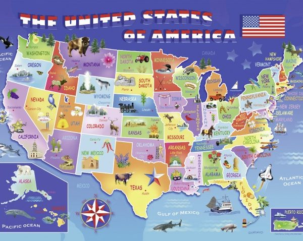 Jigsaw puzzle by ravensburger at puzzle palace australia usa state map 100 pc jigsaw puzzle gumiabroncs Image collections