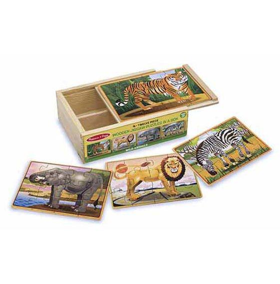 Wild Animals 4 x 12 PC Wooden Jigsaw Puzzle