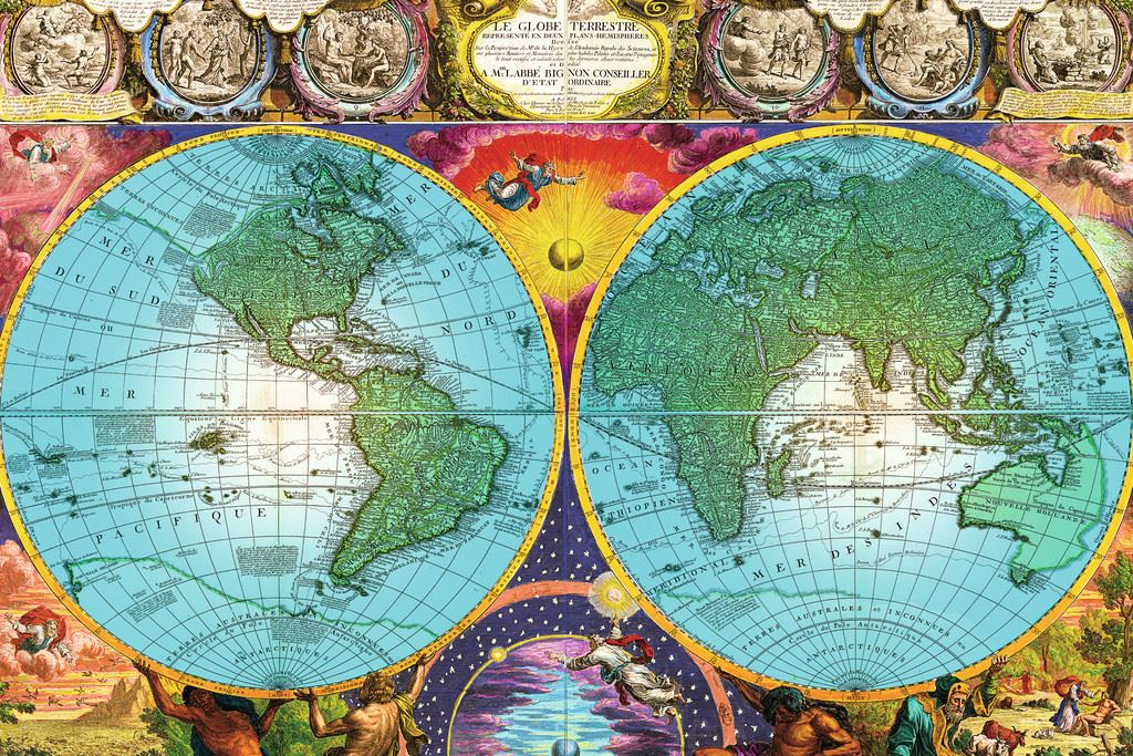 ANTIQUE WORLD MAP PC RAVENSBURGER JIGSAW PUZZLE - Antique maps for sale australia